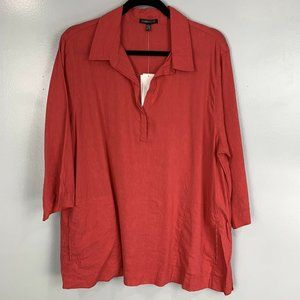 Eileen Fisher Linen Blend 3/4 Sleeve Henley NWT